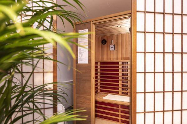 Sauna für die Gäste der Ferienwohnungen vom Strandhaus Juli im Ostseebad Baabe auf Rügen