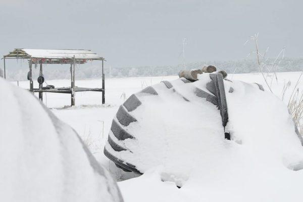 Winter auf der Insel Rügen im Ostseebad Baabe
